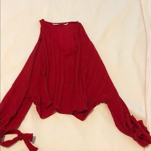 Zara red open arm top